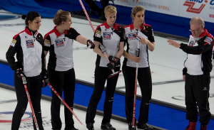 Swift Current, SK, March 25, 2016. Ford World Woman's Curling Championship. Team Switzerland skip Binia Feltscher, second Franziska Kaufmann, third Irene Schori, lead Christien Urech, Coach Al Moore, Curling Canada/ michael burns photo
