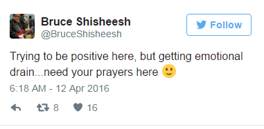 """""""Trying to be positive here, but getting emotional drain,"""" a desperate Chief Bruce Shisheesh said on Twitter. """"Need your prayers here."""""""