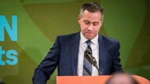 NDP Saskatchewan Leader Cam Broten addresses his supporters at the Saskatchewn NDP election headquarters in Saskatoon on Monday, April 4, 2016