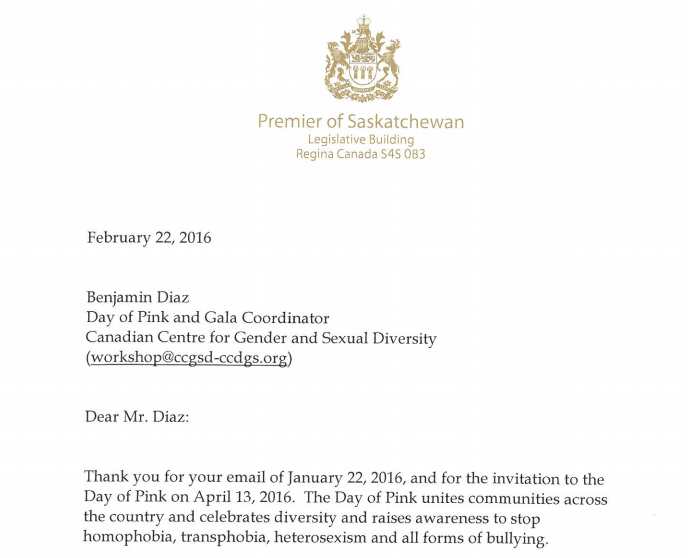 (excerpt from SK Premier BRad Wall's letter of support for Day of Pink)
