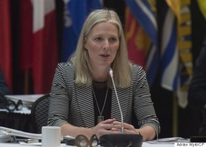 Minister of Environment and Climate Change Catherine McKenna delivers opening remarks at a meeting with her provincial counterparts Friday January 29, 2016 in Ottawa. THE CANADIAN PRESS/Adrian Wyld