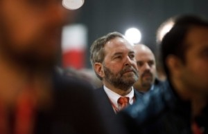 Federal NDP Leader Thomas Mulcair listens to a speech during the 2016 NDP Federal Convention in Edmonton on Saturday, April 9, 2016. (Photo: Codie McLachlan/CP)