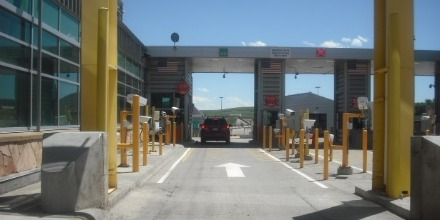 View of passenger primary lane at Sweetgrass Port of Entry