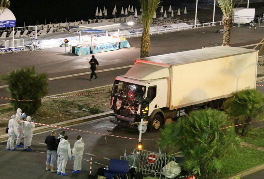 Authorities investigate a truck after it plowed through Bastille Day revelers in the French resort city of Nice, France, Thursday, 14 July, 2016 AP