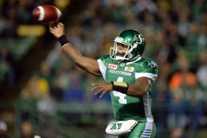 Darian Durant #4 of the Saskatchewan Roughriders