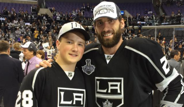 Jordan Stoll, pictured here with his uncle Jarret Stoll after the Los Angeles Kings won the Stanley Cup in 2014. (Jordan Stoll/Facebook)