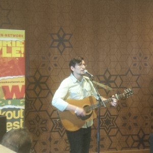 Nick Faye performs at Breakout West media conference