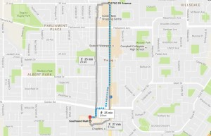 Santa Parade route -- click picture to enlarge. (Google Maps)
